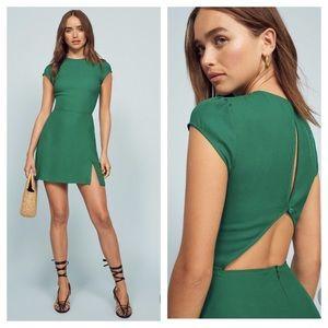 REFORMATION Lena kelly green open back mini dress
